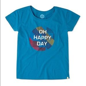 Life is Good Oh Happy Day Blue Geo Breezy Tee Sm
